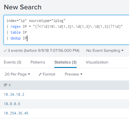 Madison : Splunk search regex ip address